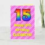 [ Thumbnail: 15th Birthday: Pink Stripes & Hearts, Rainbow # 15 Card ]