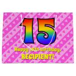 [ Thumbnail: 15th Birthday: Pink Stripes & Hearts, Rainbow # 15 Gift Bag ]