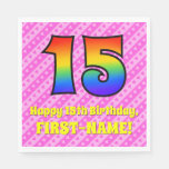 [ Thumbnail: 15th Birthday: Pink Stripes & Hearts, Rainbow # 15 Napkins ]