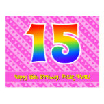 [ Thumbnail: 15th Birthday: Pink Stripes & Hearts, Rainbow 15 Postcard ]