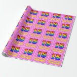 [ Thumbnail: 15th Birthday: Pink Stripes & Hearts, Rainbow # 15 Wrapping Paper ]