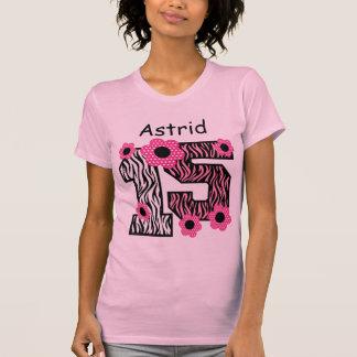 15th Birthday Pink Zebra Custom Name V025A4F T Shirt