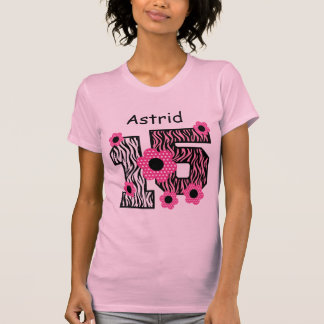 15th Birthday Pink Zebra Custom Name V025A4J4 Shirt
