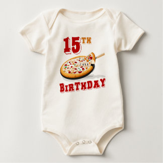 15th Birthday Pizza party Baby Bodysuit