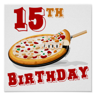 15th Birthday Pizza party Poster