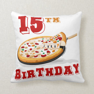 15th Birthday Pizza party Throw Pillow