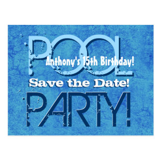 15th Birthday Pool Party Save the Date V015 Postcard