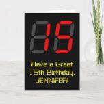 "[ Thumbnail: 15th Birthday: Red Digital Clock Style ""15"" + Name Card ]"