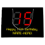 "[ Thumbnail: 15th Birthday: Red Digital Clock Style ""15"" + Name Gift Bag ]"
