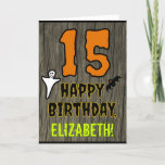 [ Thumbnail: 15th Birthday: Spooky Halloween Theme, Custom Name Card ]