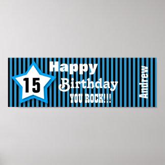 15th Birthday Star Banner Custom S06A BLUE Poster