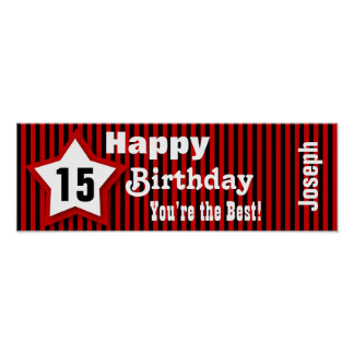 15th Birthday Star Banner Custom Sentiment Z05C Poster