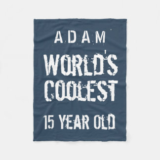15th Birthday World's Coolest 15 Year Old Navy T40 Fleece Blanket