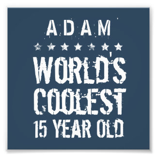 15th Birthday World's Coolest 15 Year Old Navy T40 Photo Print