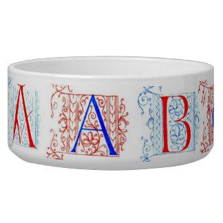 15th Century Alphabet Pet Bowl