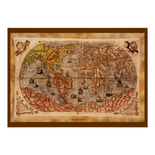 15th Century Old World Map Art Poster Zazzle