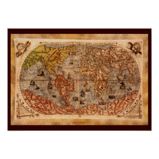 15th Century Old World Map Art Poster