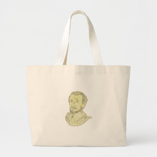 15th Century Spanish Explorer Bust Drawing Large Tote Bag