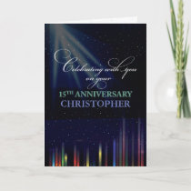 15th Employee Anniversary Sky, Customizable Black Card