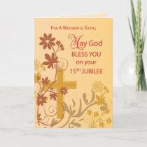 15th Jubilee Anniversary Nun Cross, Swirls, Flower Card