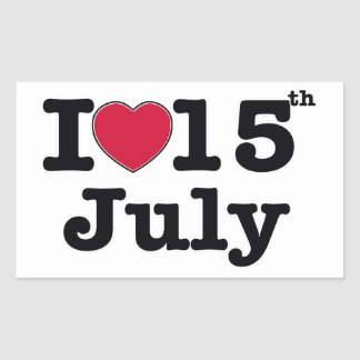 15th july my day birthday rectangular sticker