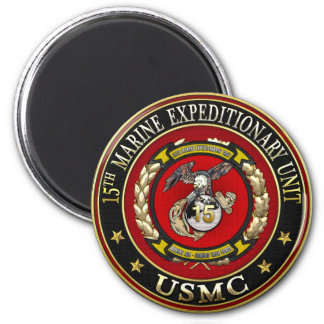 15th Marine Expeditionary Unit (15th MEU) [3D] 2 Inch Round Magnet