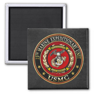 15th Marine Expeditionary Unit (15th MEU) [3D] 2 Inch Square Magnet