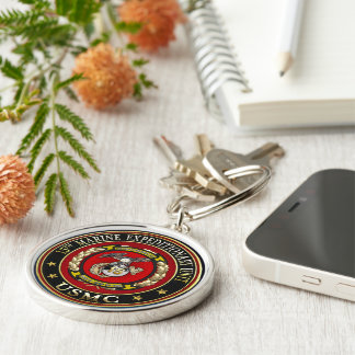 15th Marine Expeditionary Unit (15th MEU) [3D] Silver-Colored Round Keychain