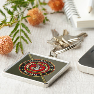15th Marine Expeditionary Unit (15th MEU) [3D] Silver-Colored Square Keychain