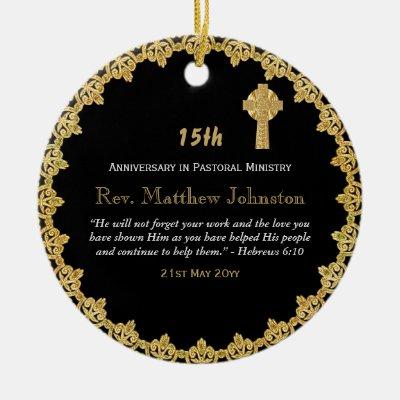 15th Ordination Anniversary Personalized Scripture Ceramic Ornament