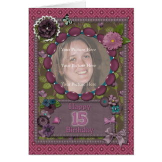 15th Photo card for a birthday