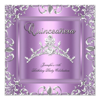 15th Quinceanera Birthday Party Silver Lilac Tiara 5.25x5.25 Square Paper Invitation Card