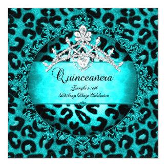 15th Quinceanera Leopard teal blue Tiara Card