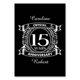 15TH wedding anniversary black and white Card