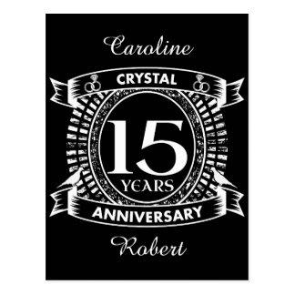 15TH wedding anniversary black and white Postcard