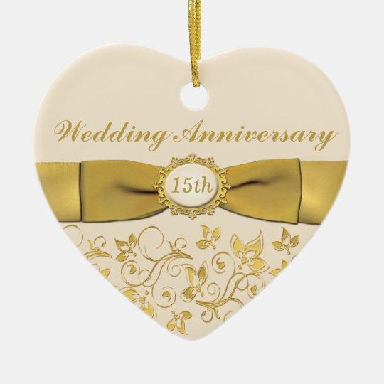 15th Wedding Anniversary Christmas Ornament