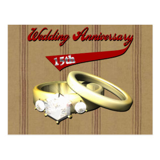 15th Wedding Anniversary Gifts Postcard
