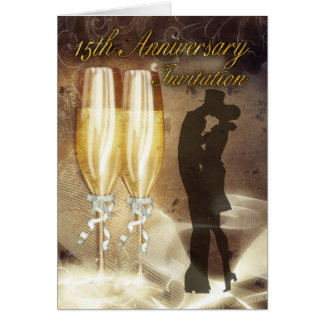 15th Wedding Anniversary Invitation Card - Champag