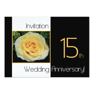 15th Wedding Anniversary Invitation - Yellow Rose