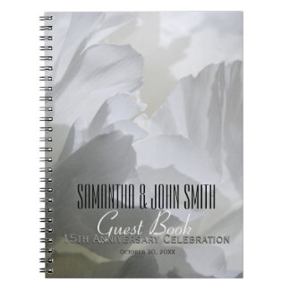 15th Wedding Anniversary Party Peony Guest Book