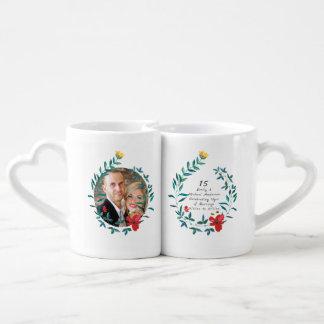 15th Wedding Anniversary PHOTO COUPLE Flowers Coffee Mug Set