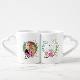 15th Wedding Anniversary PHOTO COUPLE Flowers Pink Coffee Mug Set