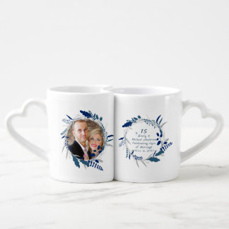 15th Wedding Anniversary PHOTO COUPLE Mugs Blue