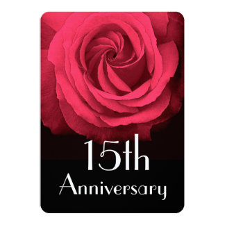 15th Wedding Anniversary Ruby Red Rose A02D Invitation