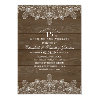 15th Wedding Anniversary Rustic Wood Country Lace Invitation