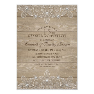 15th Wedding Anniversary Rustic Wood Vintage Lace Card