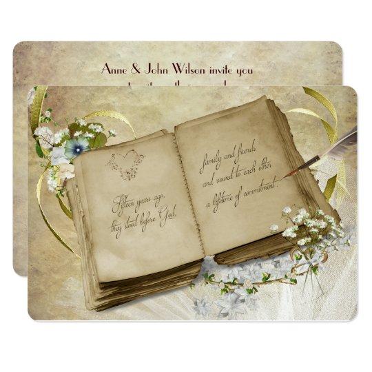 15th Wedding Anniversary.15th Wedding Anniversary Vintage Vow Renewal Invitation