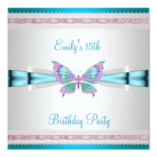 15th White Teal Blue Pink Butterfly Birthday Card