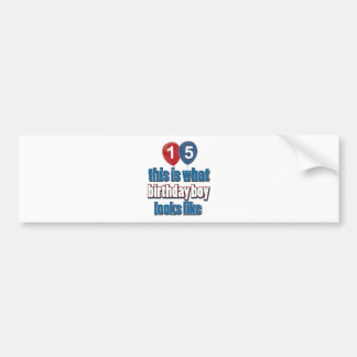 15th year birthday designs bumper sticker