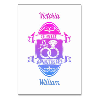 15th Year traditional crystal wedding anniversary Card